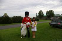 Joann with Officer and Goat at La Citadel in Quebec.jpg