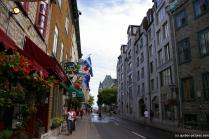 Looking down a street towards Chateau Frontenac Hotel in Quebec City.jpg